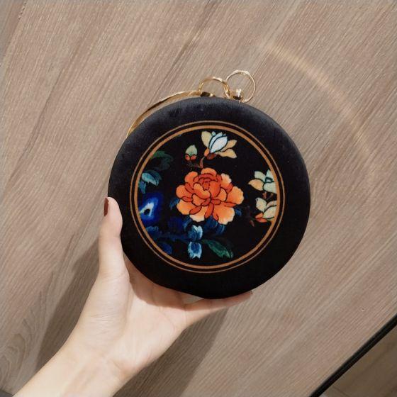 Chinesischer Stil Schwarz Velour Runde Clutch Tasche 2020 Metall Stickerei Blumen