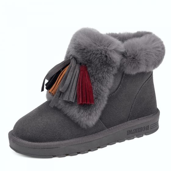 Modern / Fashion Womens Shoes 2017 Grey Leather Ankle Suede Tassel Casual Winter Flat Snow Boots