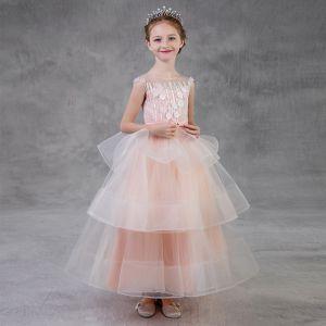 Chic / Belle Perle Rose Robe Ceremonie Fille 2018 Princesse Encolure Dégagée Sans Manches Appliques Fleur Perle Perlage Noeud Ceinture Longue Dos Nu Volants en Cascade Robe Pour Mariage