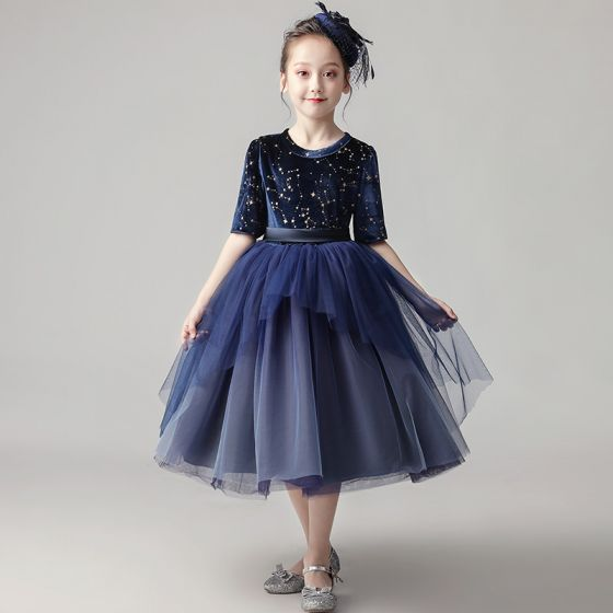 Chic / Beautiful Navy Blue Birthday Flower Girl Dresses 2020 Ball Gown Scoop Neck 1/2 Sleeves Sash Star Sequins Short Ruffle