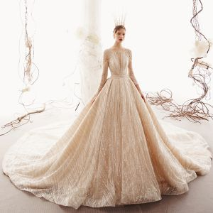 Sparkly Champagne See-through Wedding Dresses 2019 Princess Square Neckline 3/4 Sleeve Glitter Tulle Beading Royal Train