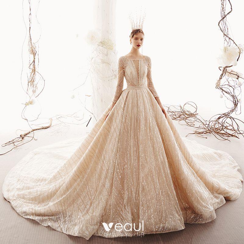 Celebrity Wedding Dresses 2019: Sparkly Champagne See-through Wedding Dresses 2019