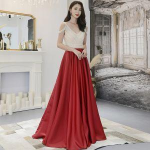 Modern / Fashion Burgundy Evening Dresses  2019 A-Line / Princess Beading Rhinestone V-Neck Backless Sleeveless Sweep Train Formal Dresses