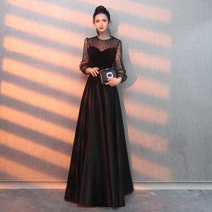 Elegant Black Evening Dresses  2019 A-Line / Princess Scoop Neck Suede Spotted Sash Long Sleeve Floor-Length / Long Formal Dresses