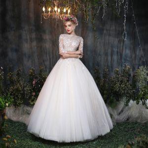 Clásico Pasillo Vestidos De Novia 2017 Blanco Ball Gown Largos Escote Cuadrado 3/4 Ærmer Sin Espalda Con Encaje Flor Apliques