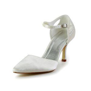 Simples Escarpins Ivoire Chaussures De Mariée En Satin Avec Strass