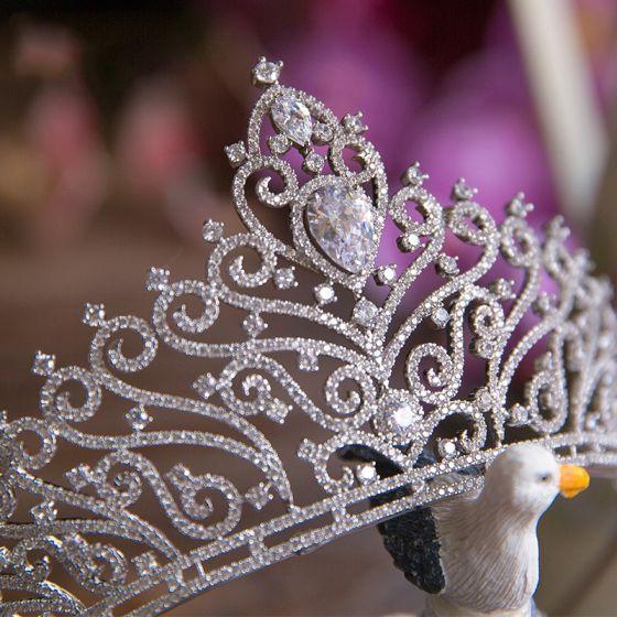 Sparkly Crystal Rhinestone Bridal Jewelry 2017 Silver Tiara