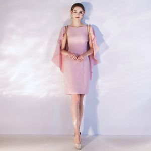 Chic / Beautiful Candy Pink Homecoming Graduation Dresses 2020 Scoop Neck Short Sleeve Beading Tassel Short Formal Dresses