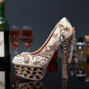 Maravilloso Magnífico Perla Rhinestone Zapatos de novia 2020 Cuero Impermeables 14 cm Stilettos / Tacones De Aguja Punta Redonda Boda Tacones