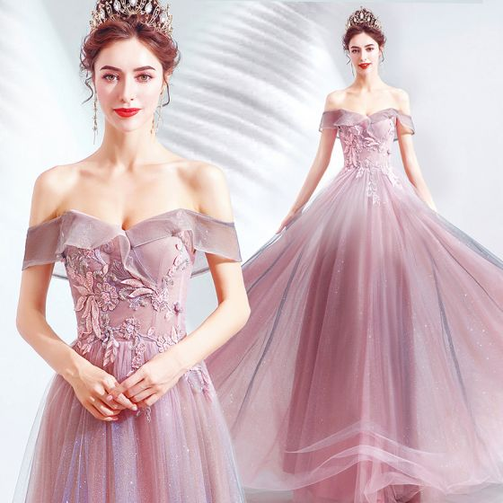 Charming Candy Pink Evening Dresses  2020 A-Line / Princess Off-The-Shoulder Glitter Tulle Beading Lace Flower Sleeveless Backless Floor-Length / Long Formal Dresses