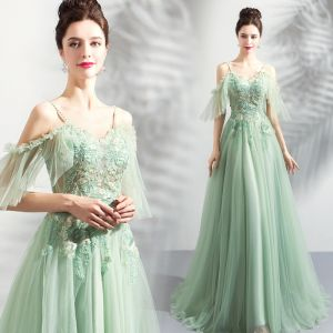 Modern / Fashion Lime Green Evening Dresses  2019 A-Line / Princess Spaghetti Straps Short Sleeve Appliques Lace Beading Floor-Length / Long Ruffle Backless Formal Dresses