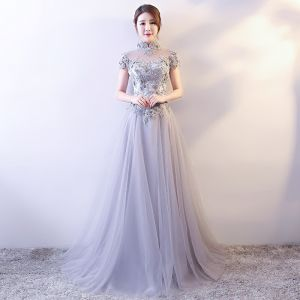 Chinese style Grey Evening Dresses  2018 A-Line / Princess Lace Appliques Crystal Pearl Sequins High Neck Backless Short Sleeve Floor-Length / Long Formal Dresses
