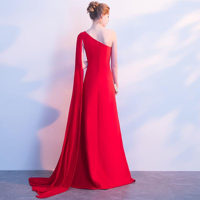 Simple Robe De Soirée 2018 Princesse Une épaule Dos Nu Sans Manches Longue Robe De Ceremonie