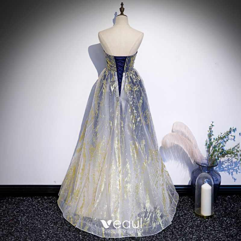 Best Royal Blue Gradient Color White Dancing Prom Dresses 2020 A