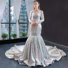 Elegant Silver Evening Dresses  2019 Trumpet / Mermaid Scoop Neck Beading Long Sleeve Backless Cathedral Train Formal Dresses