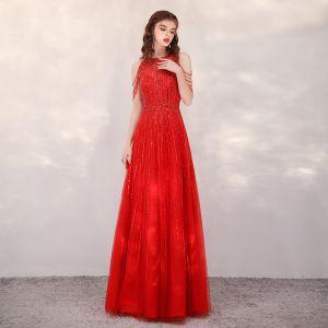 High End Rot Abendkleider 2020 A Linie Rundhalsausschnitt Ärmellos Pailletten Perlenstickerei Lange Rüschen Festliche Kleider