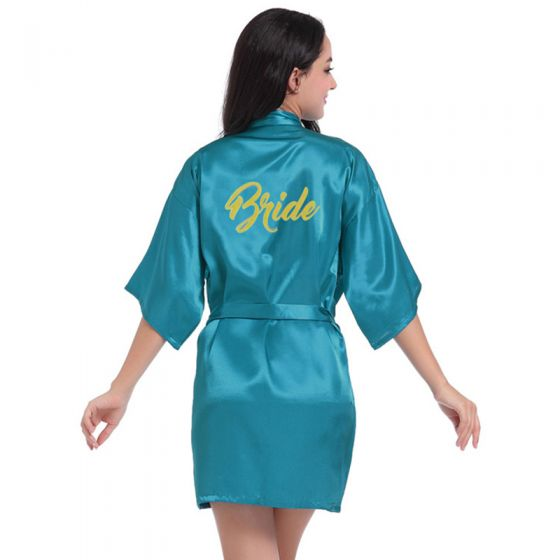 Modest / Simple Jade Green Wedding Bridal V-Neck 3/4 Sleeve Glitter Silk Robes 2020 Sash