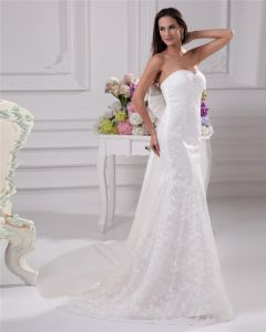 Elegant Beading Ruffles Sweetheart Floor Length Court Train Satin Yarn Sheath Wedding Dress