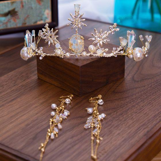 Elegante Goud Bruidssieraden 2020 Legering Zirkonium Parel Rhinestone Tiara Kwast Oorbellen Bruids Accessoires