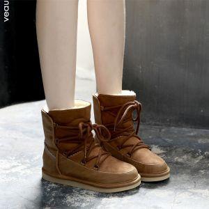 Mode Schneestiefel 2017 Braun PU Ankle Boots Schnüren Freizeit Winter Flache Stiefel Damen