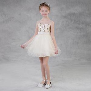 Moda Champán Transparentes Verano Vestidos para niñas 2018 A-Line / Princess Escote Cuadrado Sin Mangas Lentejuelas Cinturón Cortos Ruffle Sin Espalda Vestidos para bodas