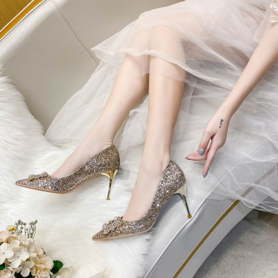 Glitzernden Champagner Abend Perle Strass Pumps 2021 Leder Pailletten 8 cm Stilettos Spitzschuh Pumps Hochhackige