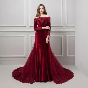 Elegant Burgundy Suede Evening Dresses  2019 Trumpet / Mermaid Off-The-Shoulder Long Sleeve Appliques Lace Beading Detachable Court Train Ruffle Backless Formal Dresses