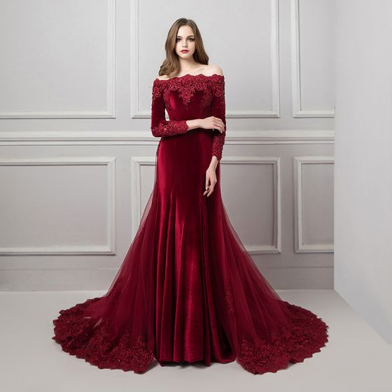 5ff4ccd71ac Elegant Burgundy Suede Evening Dresses 2019 Trumpet   Mermaid Off-The- Shoulder Long Sleeve Appliques Lace Beading Detachable Court Train ...