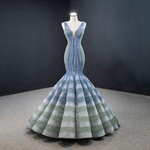 Fabulous Ocean Blue Sage Green Red Carpet Evening Dresses  2020 Trumpet / Mermaid See-through Deep V-Neck Sleeveless Floor-Length / Long Ruffle Backless Formal Dresses