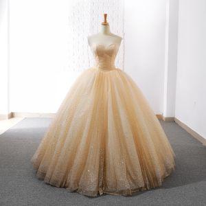 Sparkly Champagne Wedding Dresses 2018 Ball Gown Glitter Sequins Sweetheart Sleeveless Floor-Length / Long Wedding