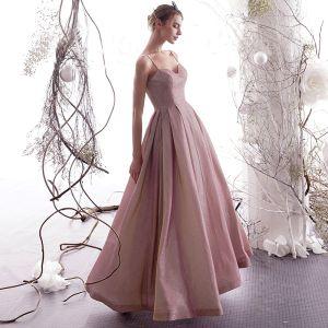 Charming Pearl Pink Starry Sky Evening Dresses  2019 A-Line / Princess Sleeveless Glitter Satin Spaghetti Straps Backless Floor-Length / Long Formal Dresses