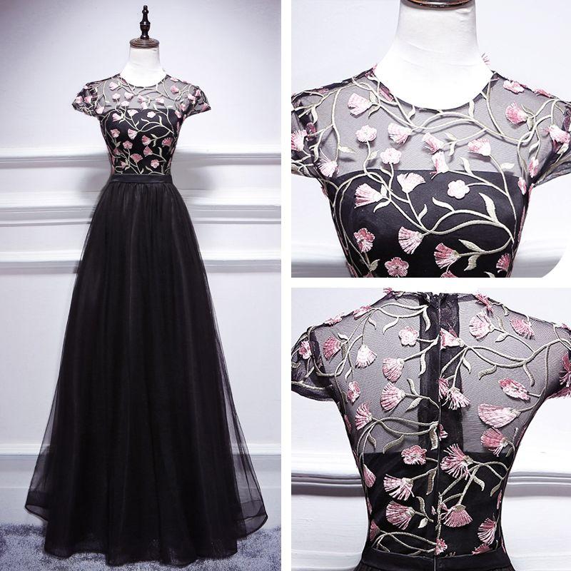 Chic / Beautiful Black Floor-Length / Long Evening Dresses  2018 A-Line / Princess U-Neck Tulle Appliques Backless Formal Dresses