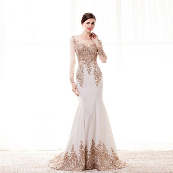 Elegant Champagne See-through Evening Dresses  2020 Trumpet / Mermaid Scoop Neck Long Sleeve Beading Appliques Lace Sweep Train Ruffle Formal Dresses