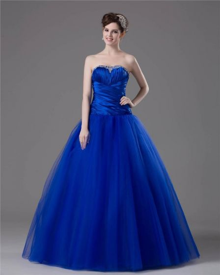 Ball Gown Strapless Floor Length Satin Tulle Party Prom/Quinceanera Prom Dress