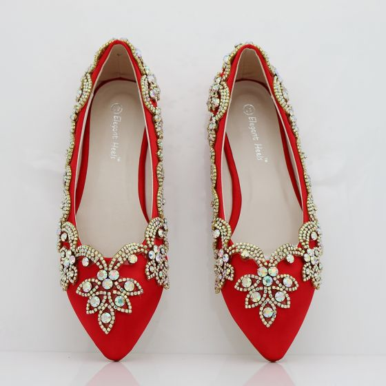 red wedding shoes with rhinestones