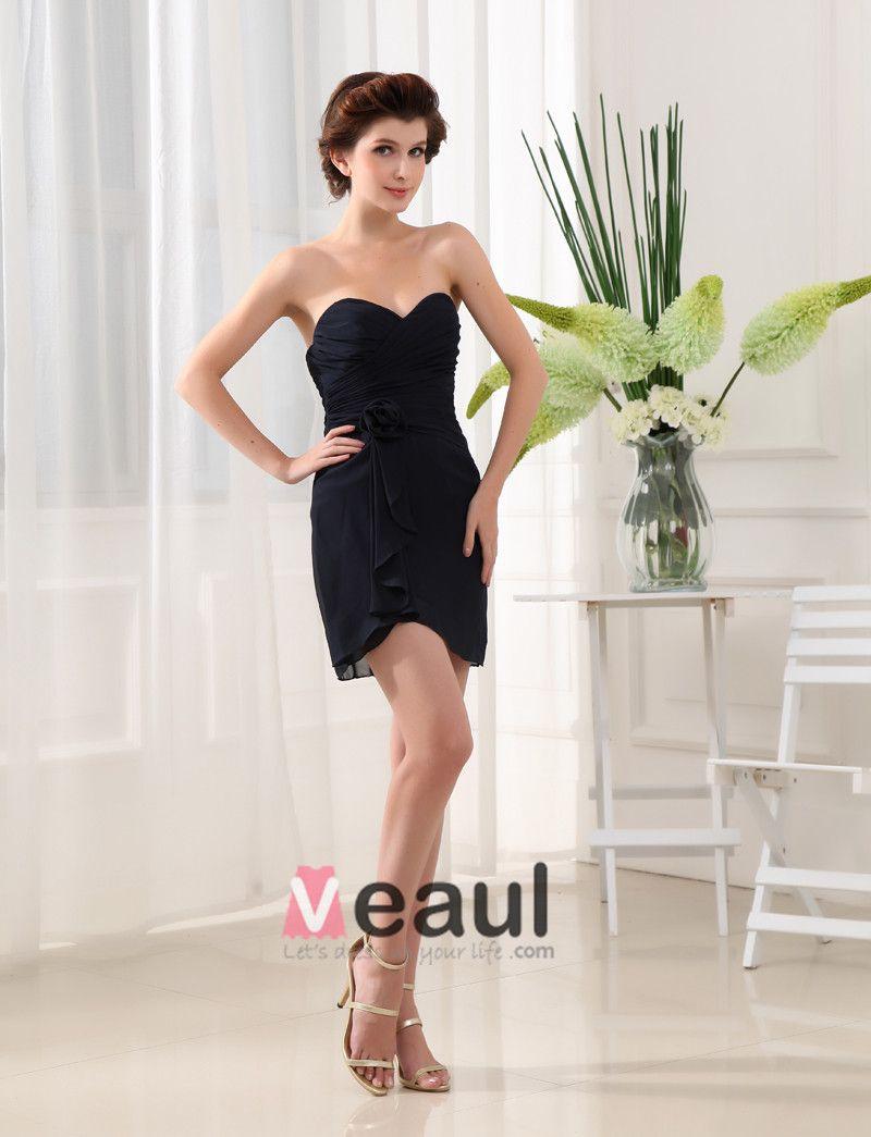 Sweetheart Neckline Thigh Length Pleated Chiffon Flower A-Line Bridesmaid Dress