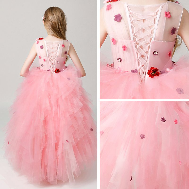 Chic / Beautiful Candy Pink See-through Flower Girl Dresses 2019 Ball Gown Scoop Neck Sleeveless Appliques Flower Floor-Length / Long Cascading Ruffles Wedding Party Dresses