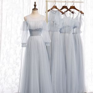 Piękne Szary Sukienki Dla Druhen 2020 Princessa Bez Pleców Frezowanie Cekinami Tiulowe Długie Wzburzyć