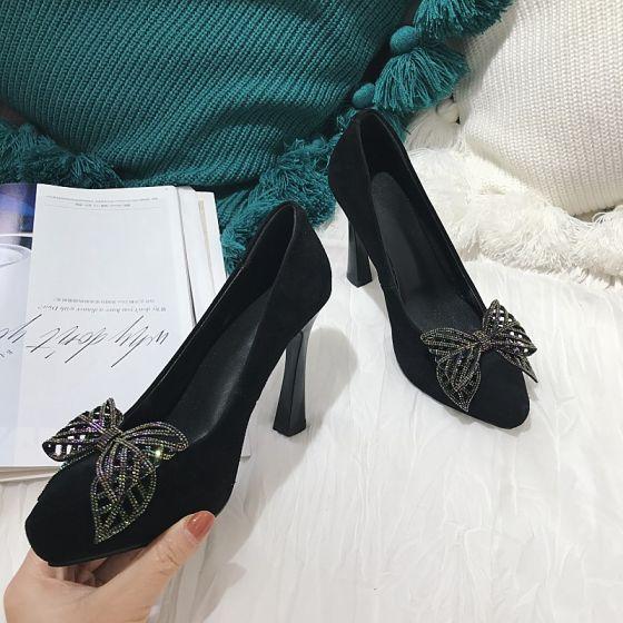 Hermoso Negro Gala Tacones 2021 Cuero Rhinestone Bowknot 10 cm Stilettos / Tacones De Aguja Punta Estrecha Tacones High Heels