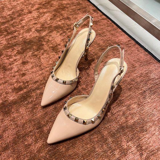 Mode Beige Abend Niet Slingpumps Sandalen Damen 2021 8 cm Stilettos Spitzschuh Sandaletten Hochhackige