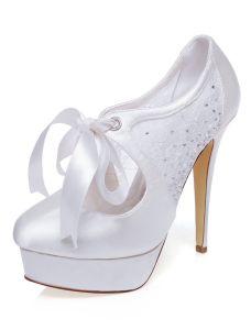 Elégant Chaussures Mariée En Satin Avec De La Dentelle Escarpin Blanc Chaussures De Mariage Stilettos Avec Plateforme