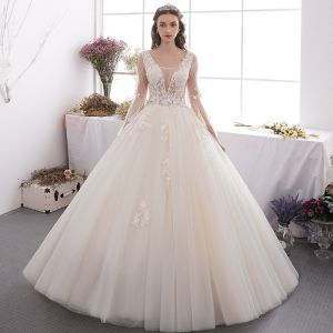 Affordable Champagne Outdoor / Garden Wedding Dresses 2019 A-Line / Princess See-through Deep V-Neck Bell sleeves Backless Appliques Lace Beading Floor-Length / Long Ruffle