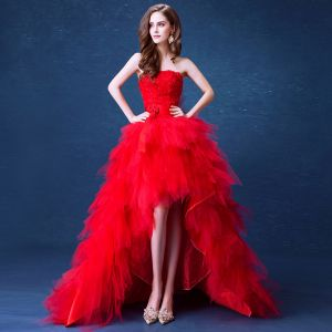 Sexy Red Asymmetrical Wedding Dresses 2020 Ball Gown Strapless Crystal Appliques Sash Sleeveless Backless Cascading Ruffles Court Train