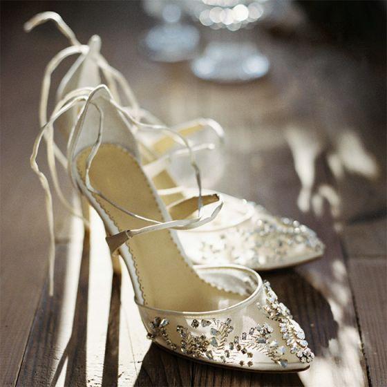 Único Marfil Hecho a mano Zapatos de novia 2019 Rhinestone Crystal 8 cm Stilettos / Tacones De Aguja X-Correa Punta Estrecha Boda High Heels