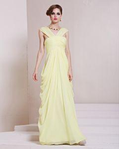 Mode Tencel Charmeuse Falten V-ausschnitt Bodenlangen Abendkleid