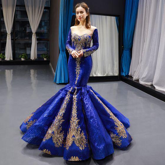 Błyszczące Królewski Niebieski odpinany Długie Rękawy Przezroczyste Sukienki Wieczorowe 2020 Syrena / Rozkloszowane Kwadratowy Dekolt Złote Aplikacje Cekiny Trenem Sweep Wzburzyć Sukienki Wizytowe