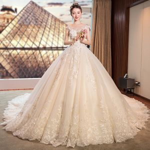 Chic / Beautiful Ivory Wedding Dresses 2019 A-Line / Princess See-through Deep V-Neck Sleeveless Backless Appliques Lace Flower Pearl Beading Cathedral Train Ruffle