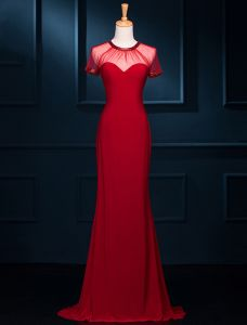 Einfache Mermaid Sicken U-ausschnitt Rückenfreie Rotem Tüll Abendkleid