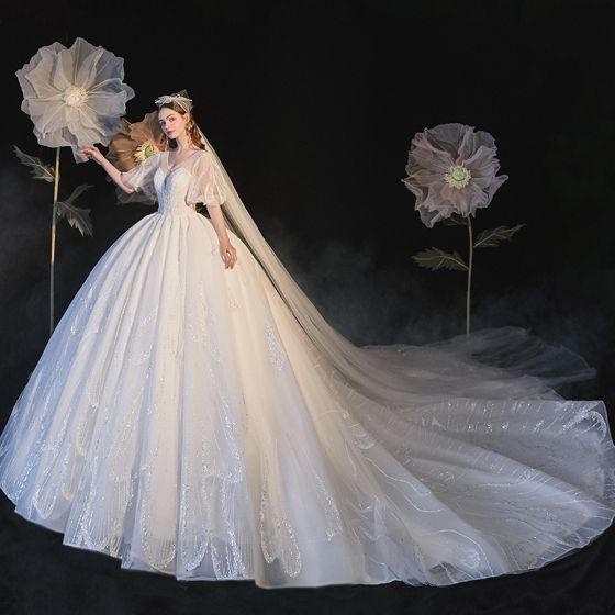 Luxury / Gorgeous Ivory Wedding Dresses 2021 Ball Gown V-Neck Beading Rhinestone Sequins Short Sleeve Backless Royal Train Wedding