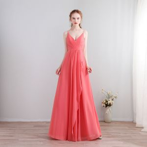 Amazing / Unique Floor-Length / Long Watermelon Formal Dresses 2018 V-Neck A-Line / Princess Chiffon Lace-up Appliques Backless Evening Party Evening Dresses